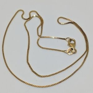 Jewelry - Vintage Solid 14K Yellow Gold Box Chain Necklace